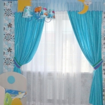 портьеры для детской голубые