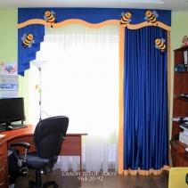 шторы для детской синие ламбрекены